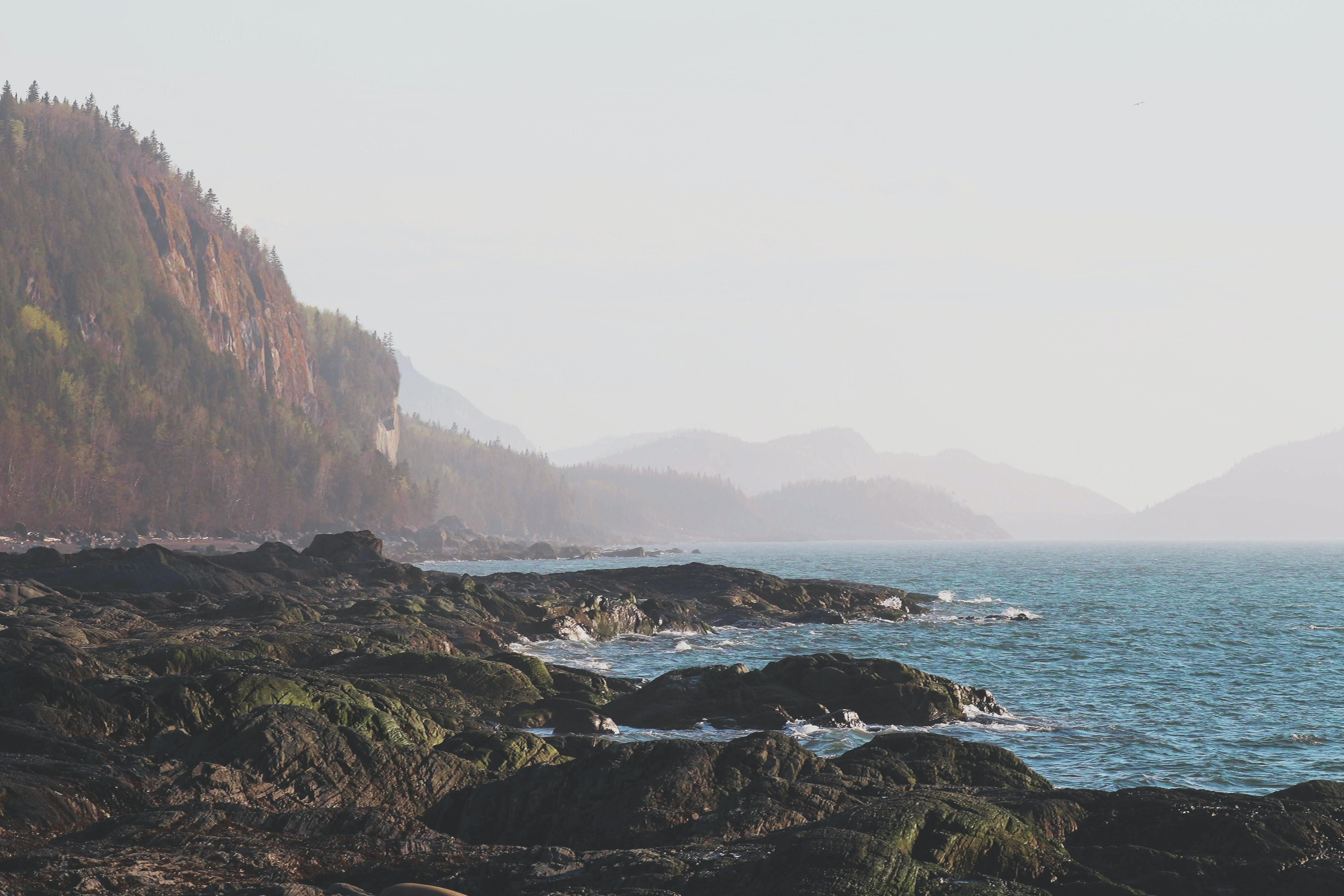 Montagne sur le bord de l'eau